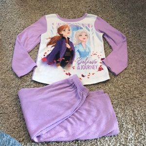 Disney Frozen Long Sleeve Purple White Fleece PJs